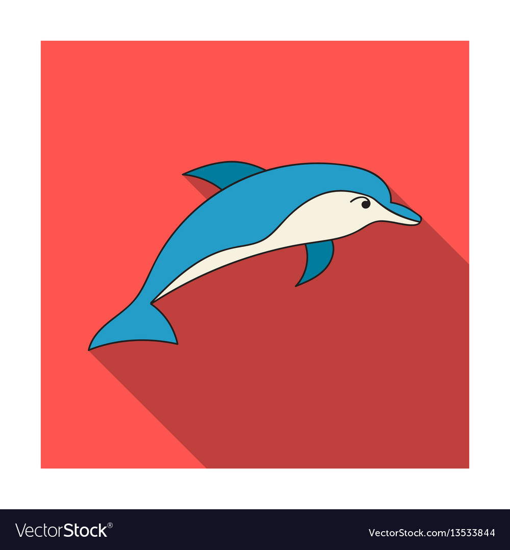 Dolphin icon in flat style isolated on white