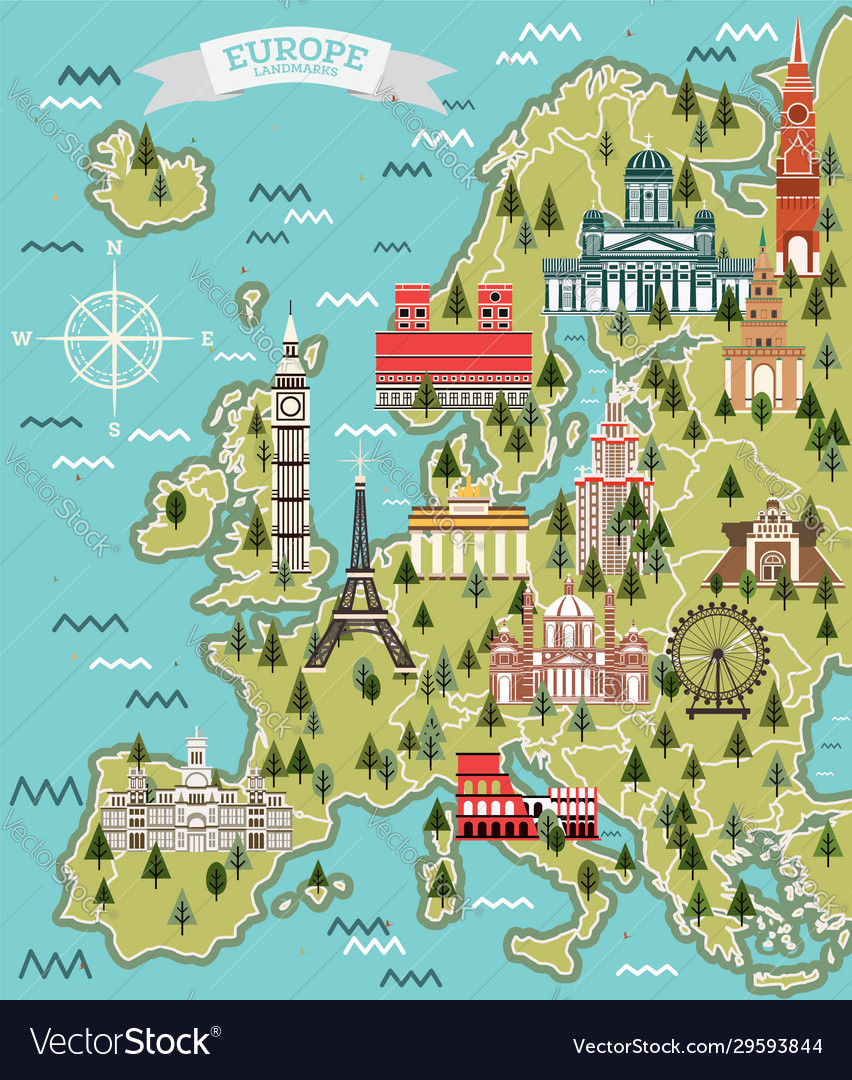 Europe map with famous landmarks