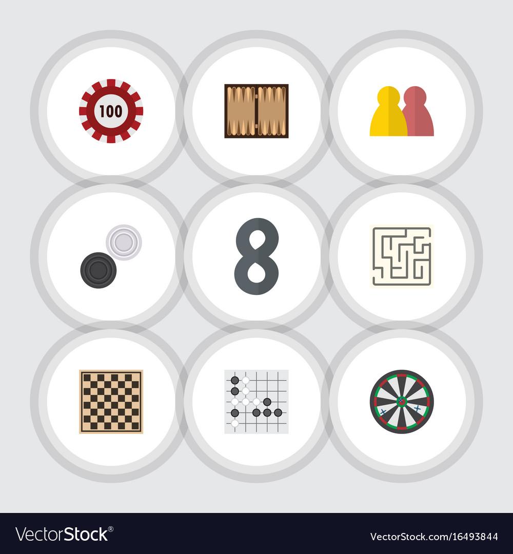 Flat icon entertainment set of gomoku chequer