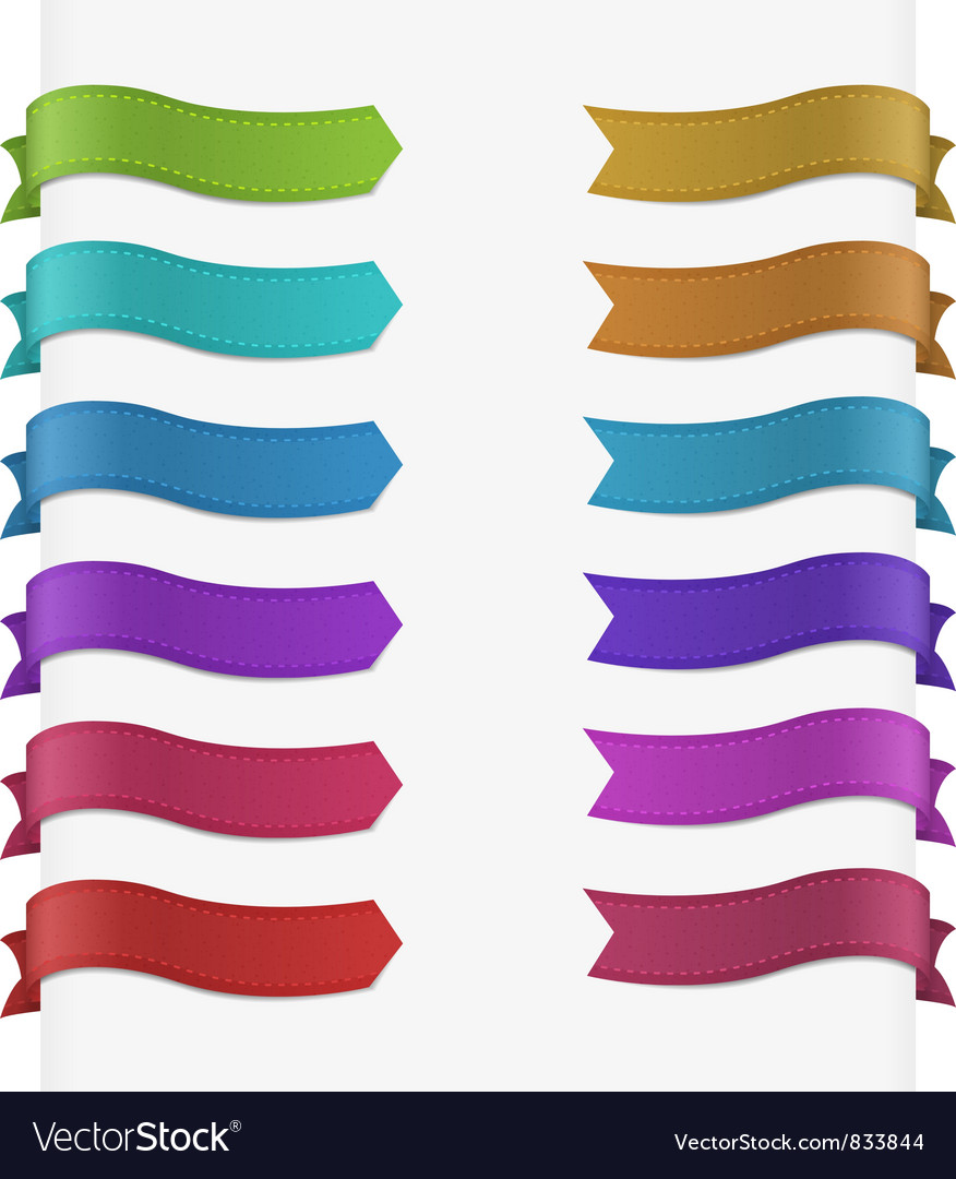 Set of 12 quality textured ribbons vector image