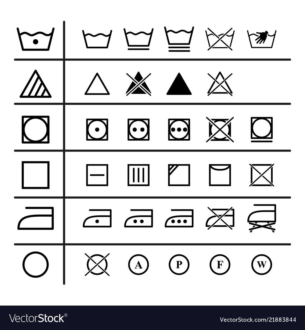 Set of the laundry instruction of icons