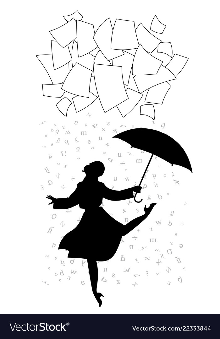 Woman under a shower words cloud paper
