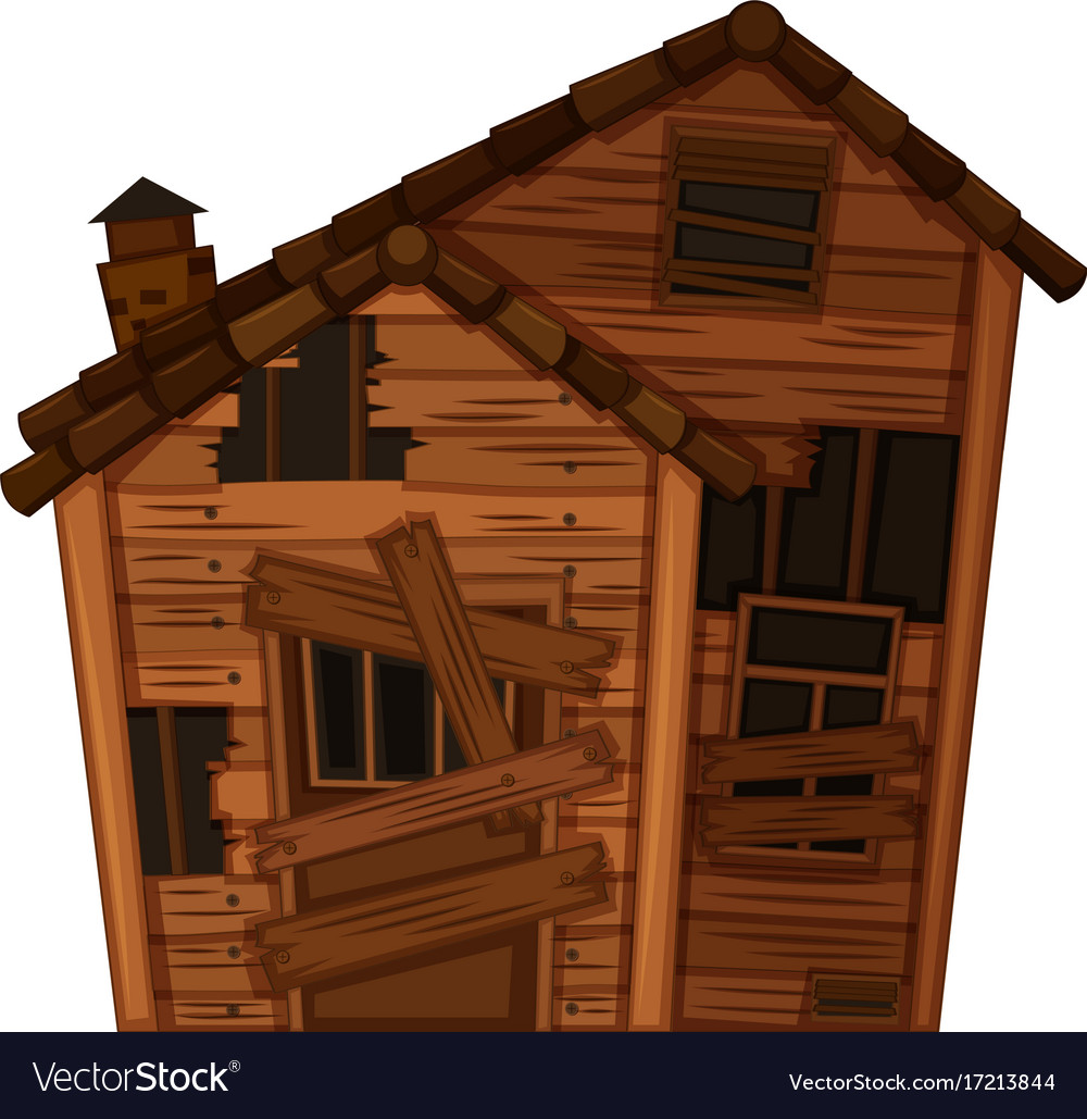 Wooden house in poor condition