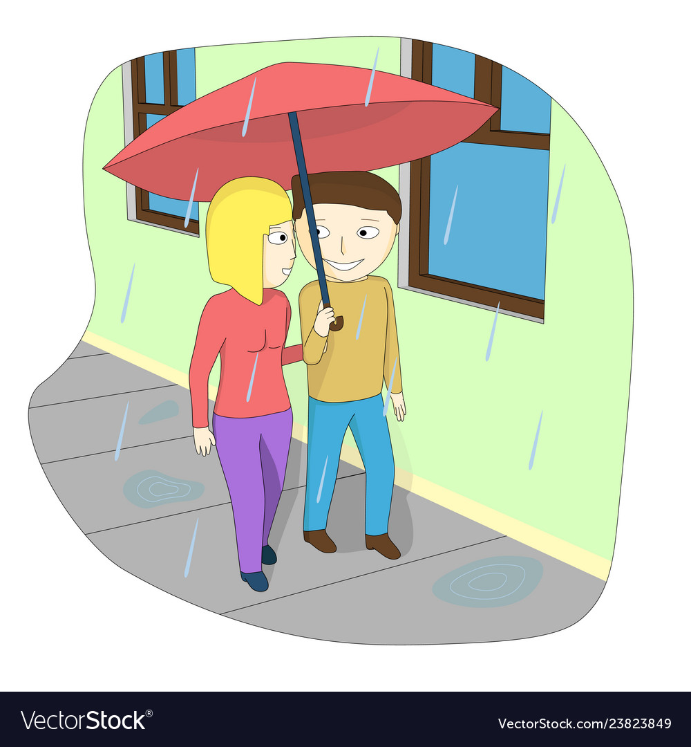 A couple walking down the street in the rain