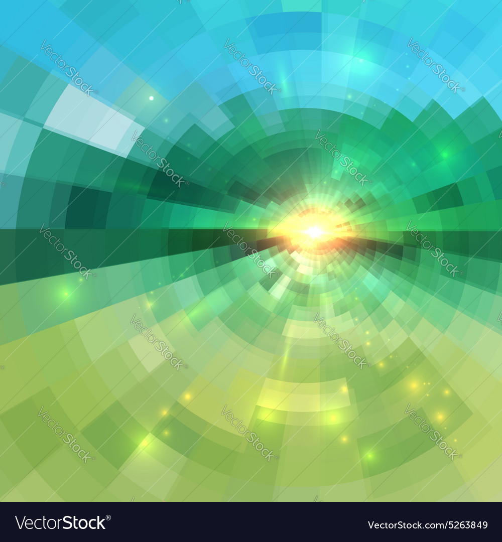 Abstract green technology concentric mosaic
