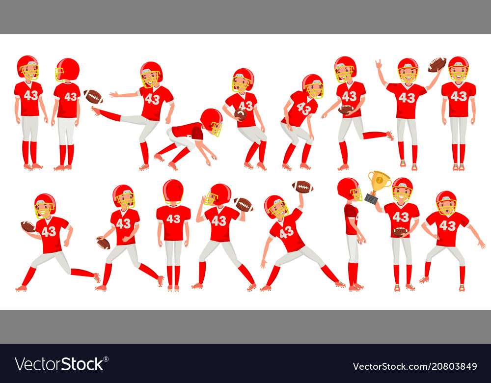 American football young man player red