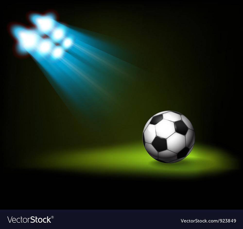 Bright spot lights and illuminated soccer football vector image