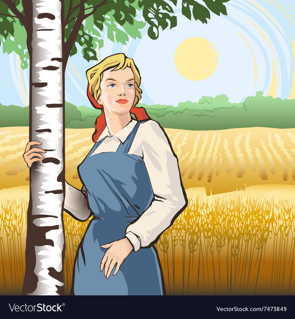 Girl birch wheat