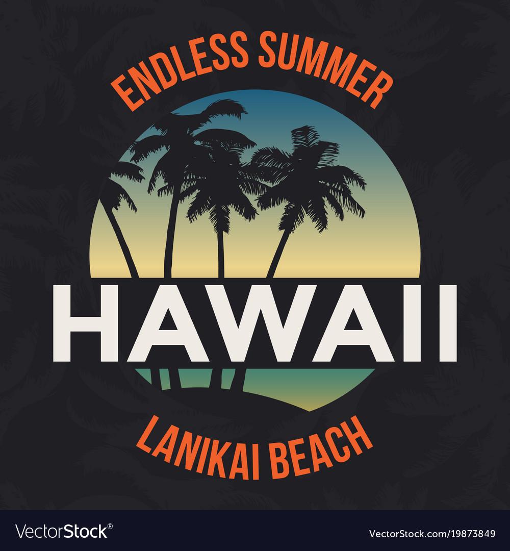 Hawaii beach with palm tree t-shirt design