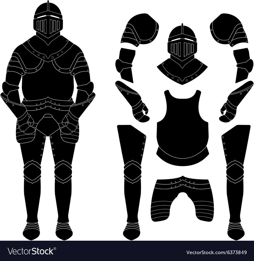 Medieval knight armor set Black