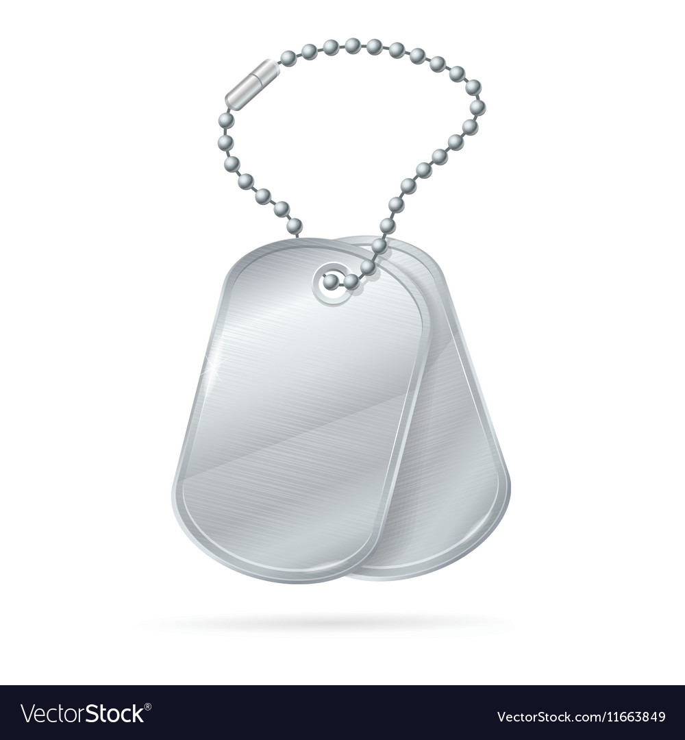 Military ID Tag Silver Army Medallion Set vector image