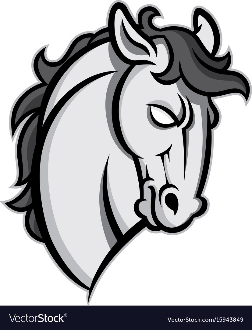 mustang stallion horse head royalty free vector image rh vectorstock com horse head vector clipart horse head vector black and white