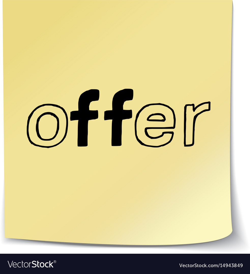 Offer - hand lettering sticky note vector image