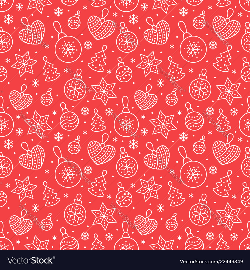Seamless pattern with white snowflakes and toy