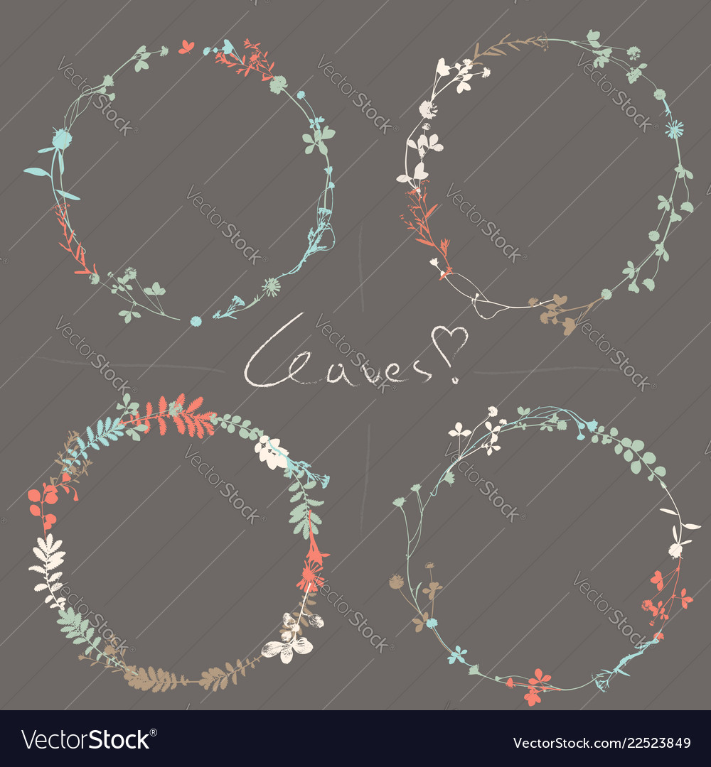 Set of vintage wreaths in natural plant flowers