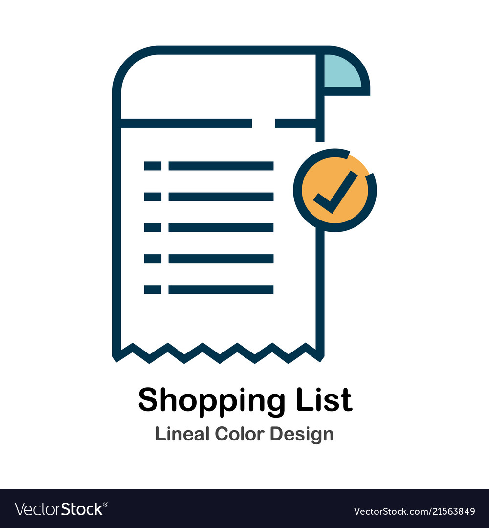shopping list lineal color icon vector image