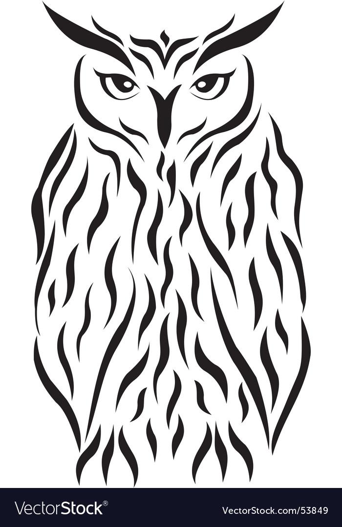 Tribal eagle-owl tattoo vector image