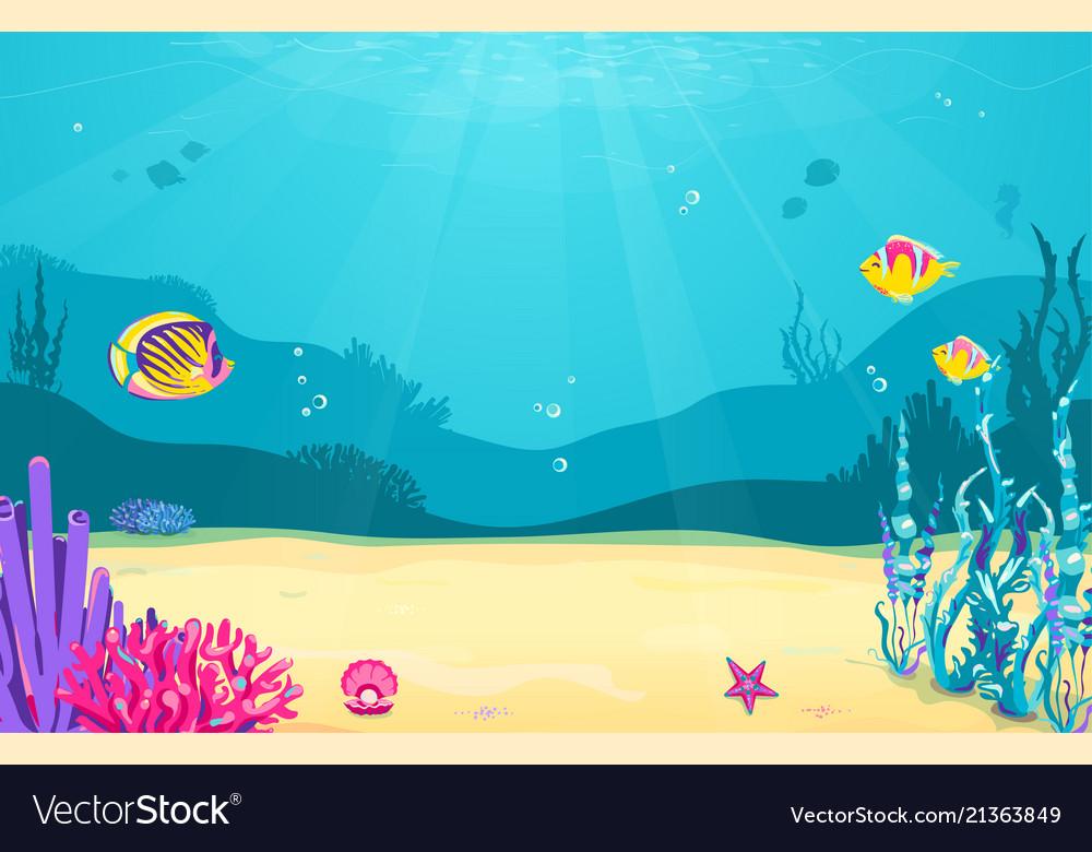 Underwater cartoon background with fish sand