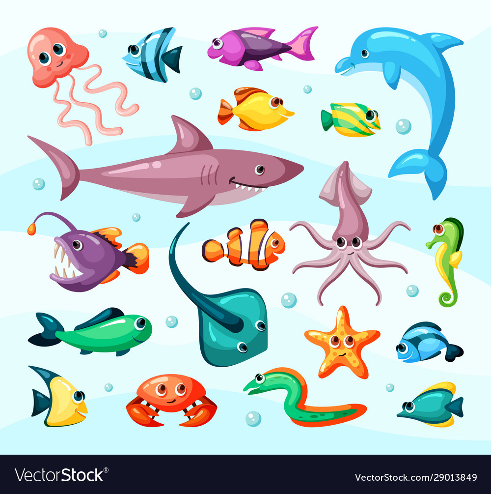 Underwater life fish colorful flat