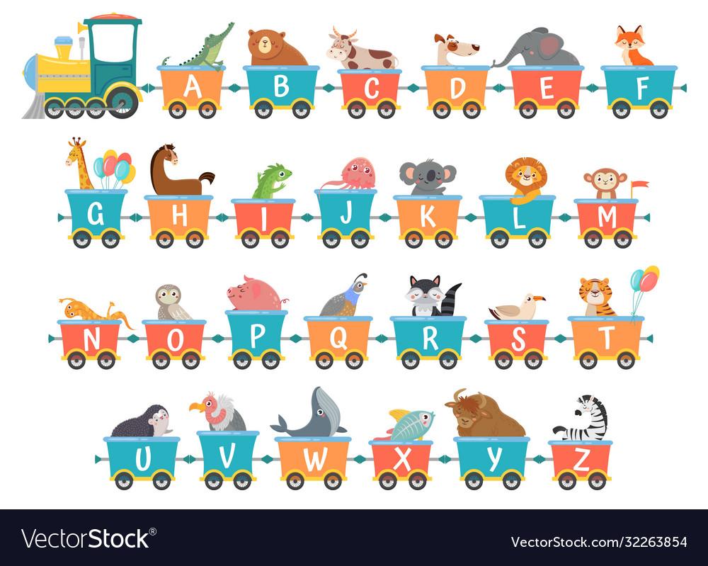 Alphabet train with animals cartoon animal