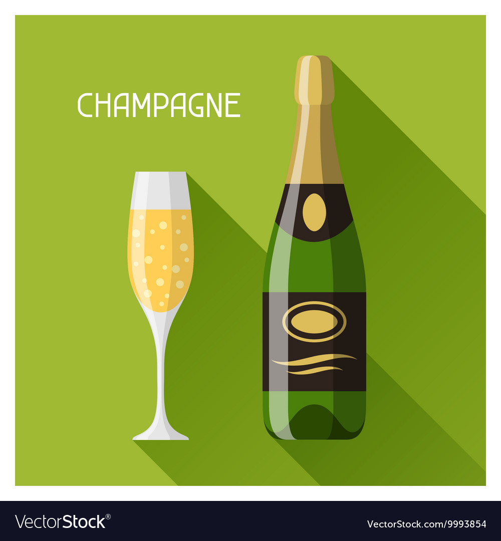 Bottle and glass of champagne in flat design style