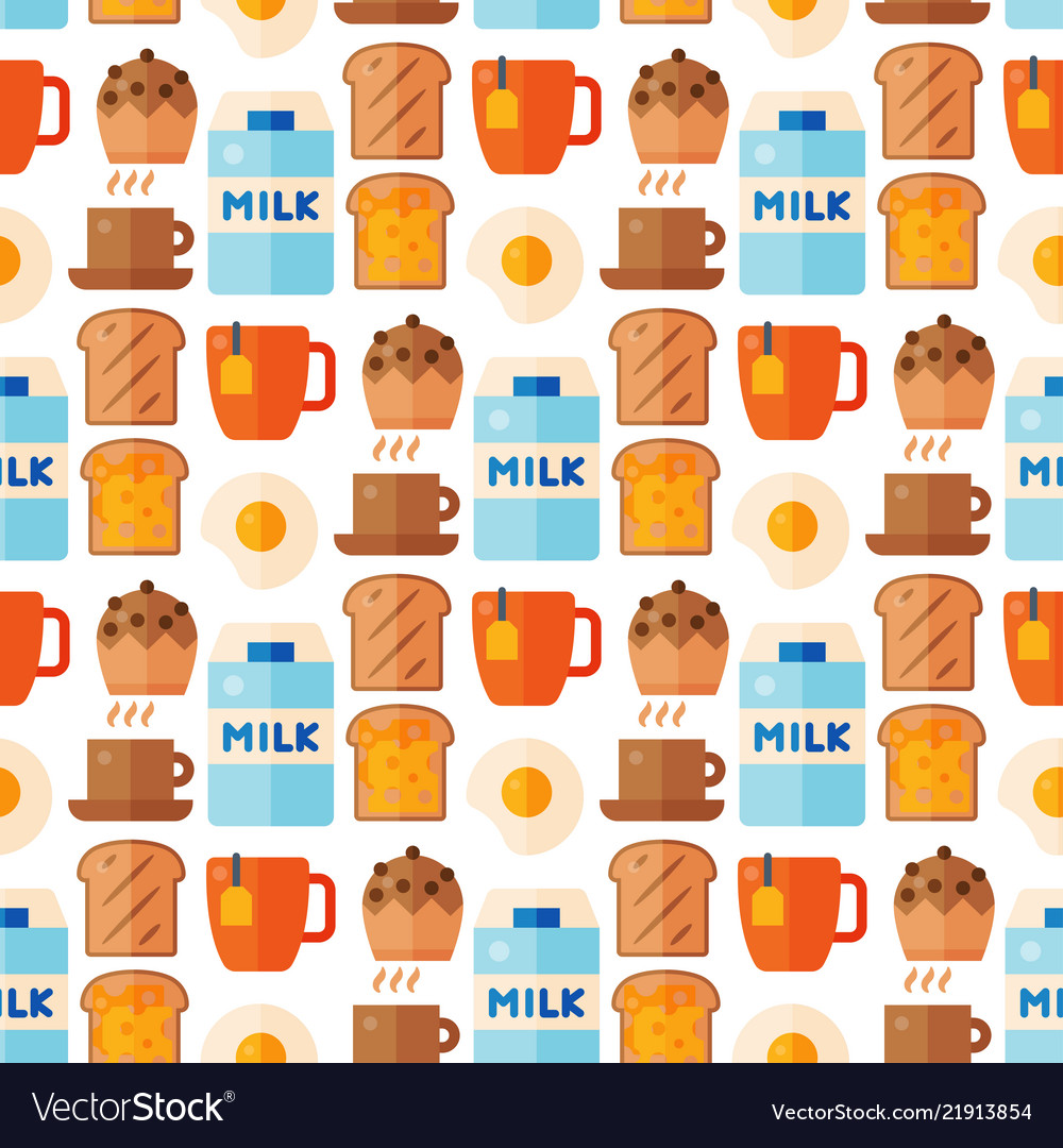 Breakfast healthy food meal icons seamless pattern