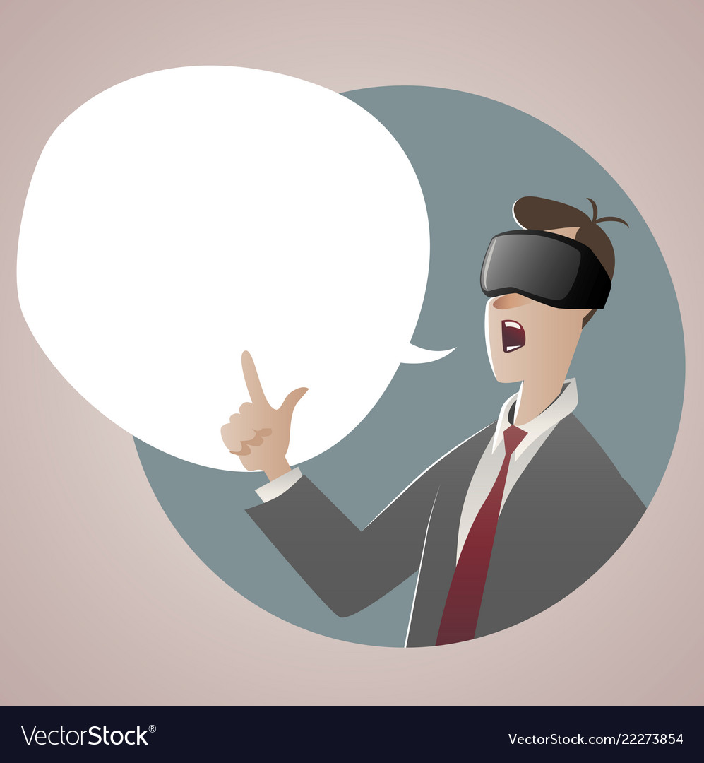 Businessman wearing glasses 3d virtual reality