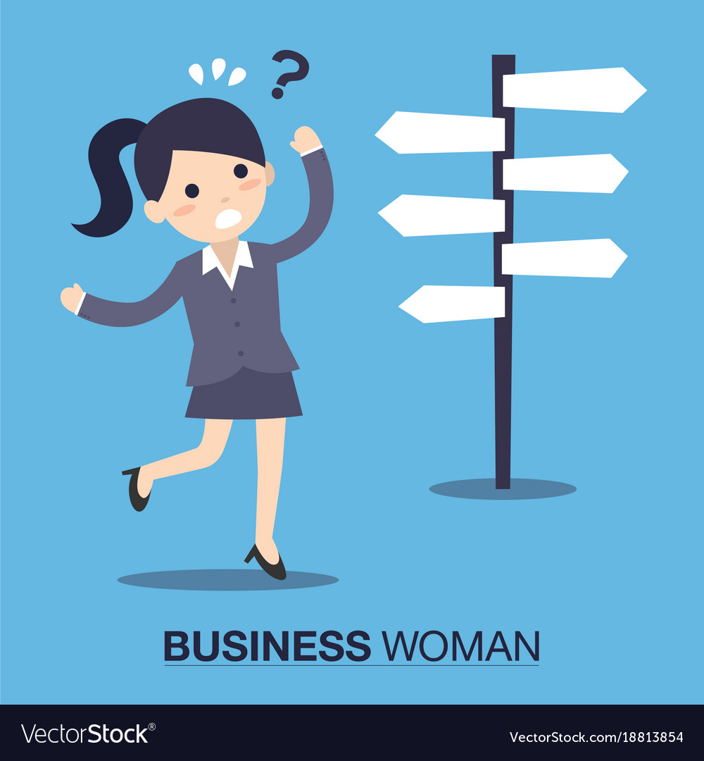 Businesswoman front of a choice