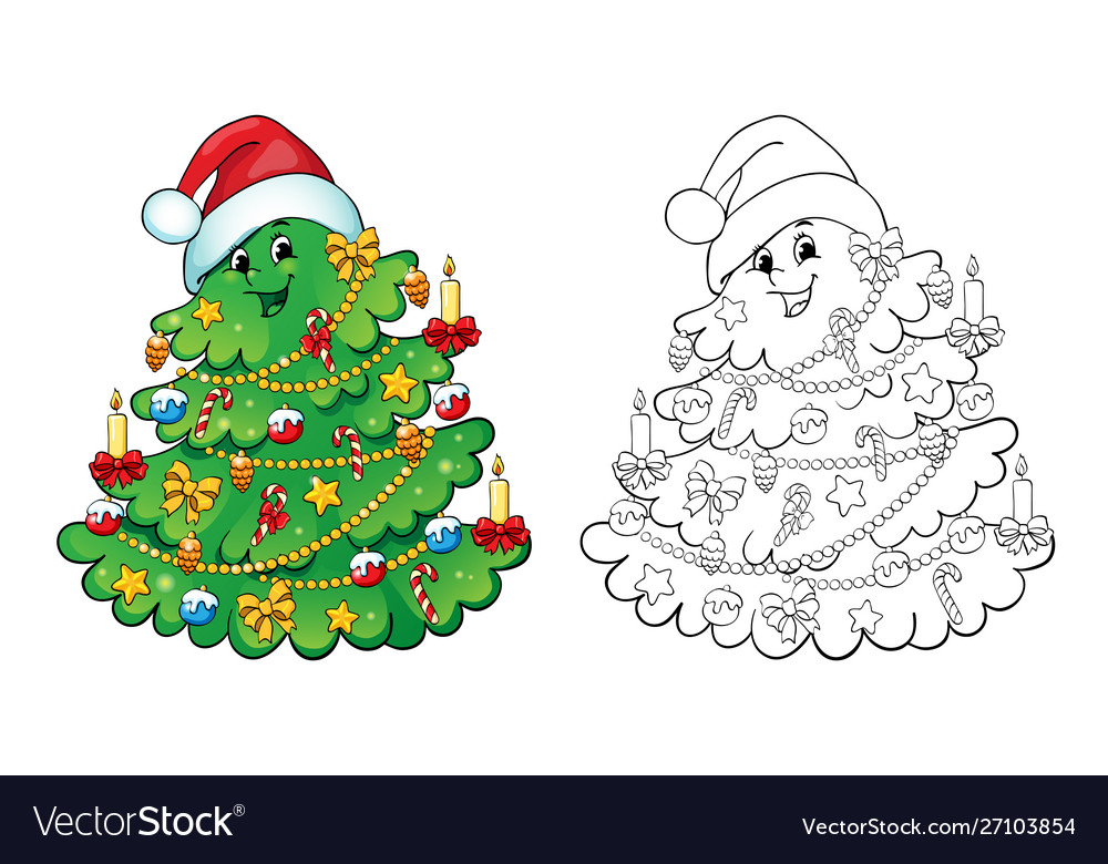 - Coloring Book Christmas Tree Card Concept Vector Image