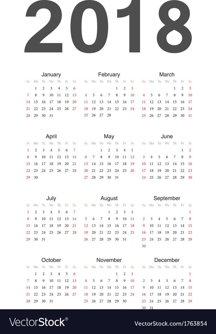 Year Calendar Google : European year calendar royalty free vector image