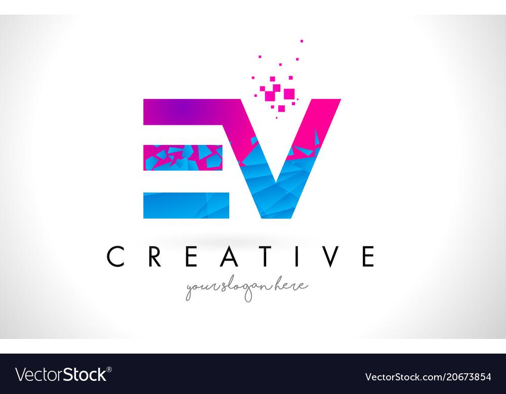 Ev e v letter logo with shattered broken blue vector image thecheapjerseys Gallery