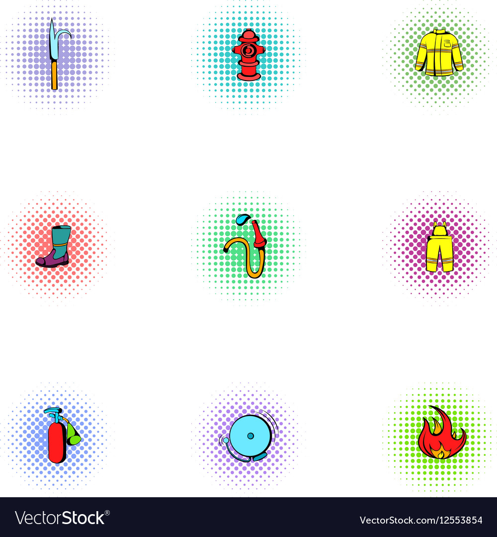 Fire icons set pop-art style vector image
