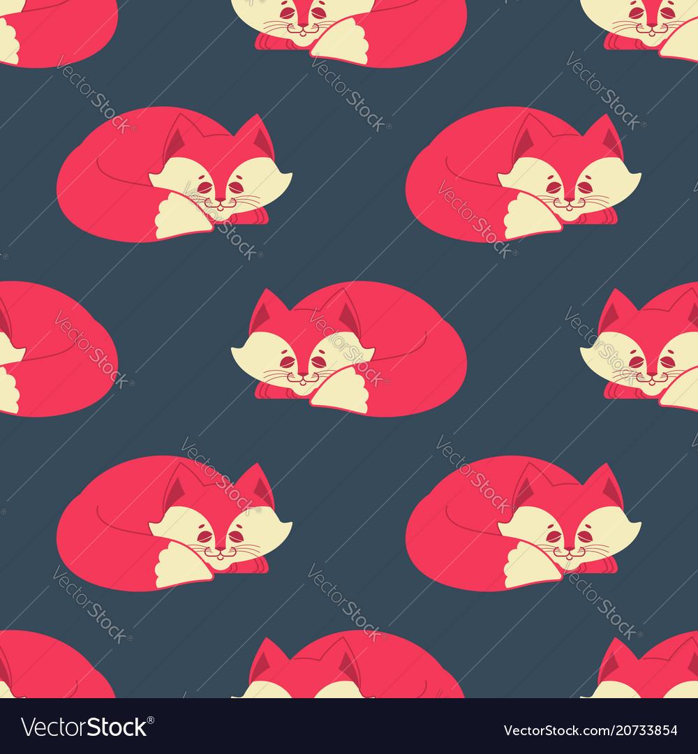 Fox sleeps seamless pattern sleeping wild beast