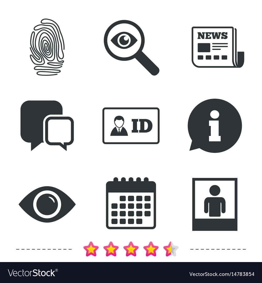Identity id card badge icons eye symbol