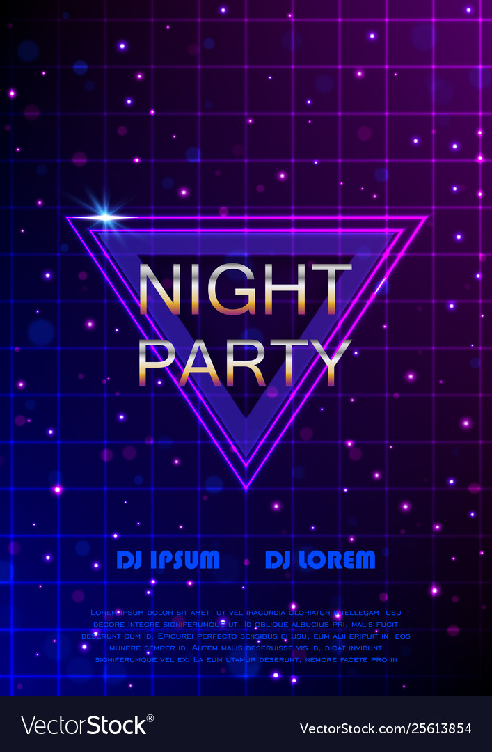 Night party flyer retro style poster