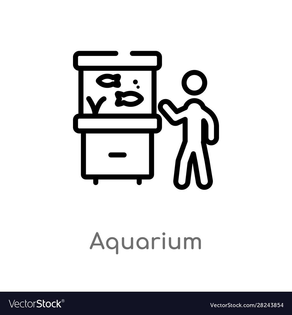 Outline aquarium icon isolated black simple line