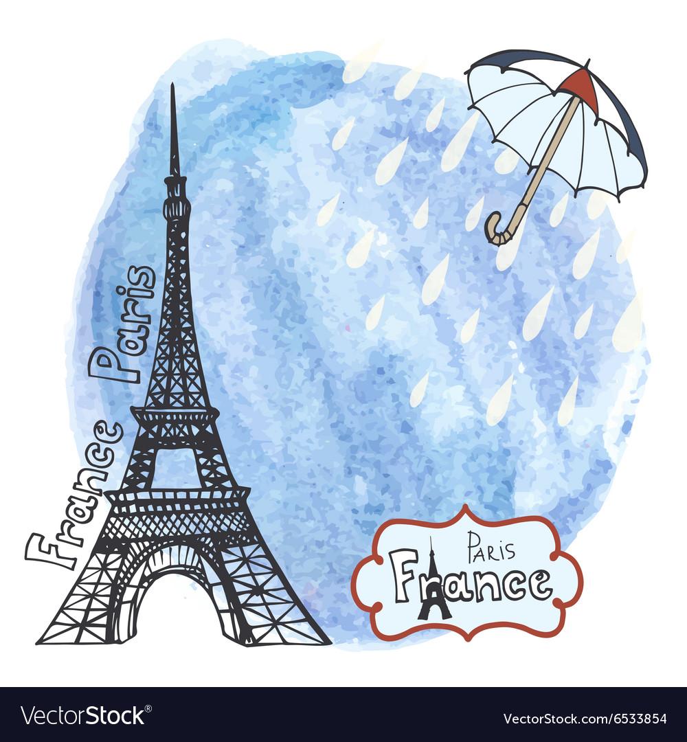 Paris Eiffel towerWatercolor splashumbrellarain