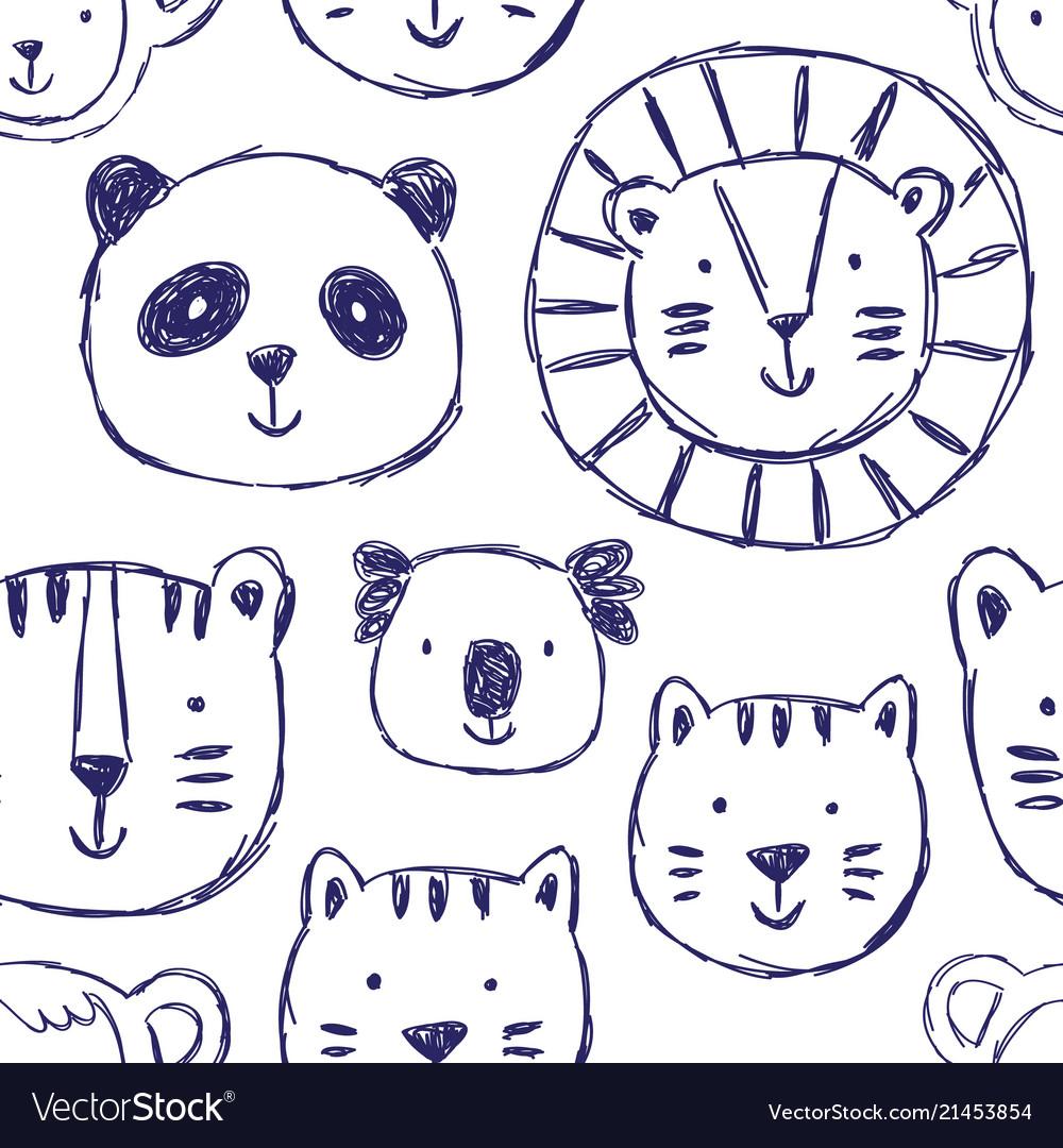 Seamless childish pattern with cute animals