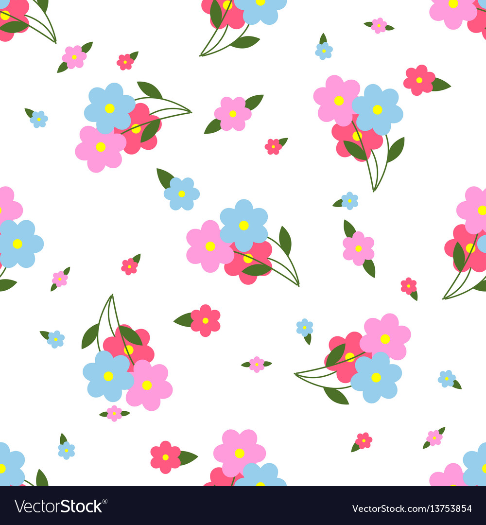 Seamless pattern colorful flowers and leaves