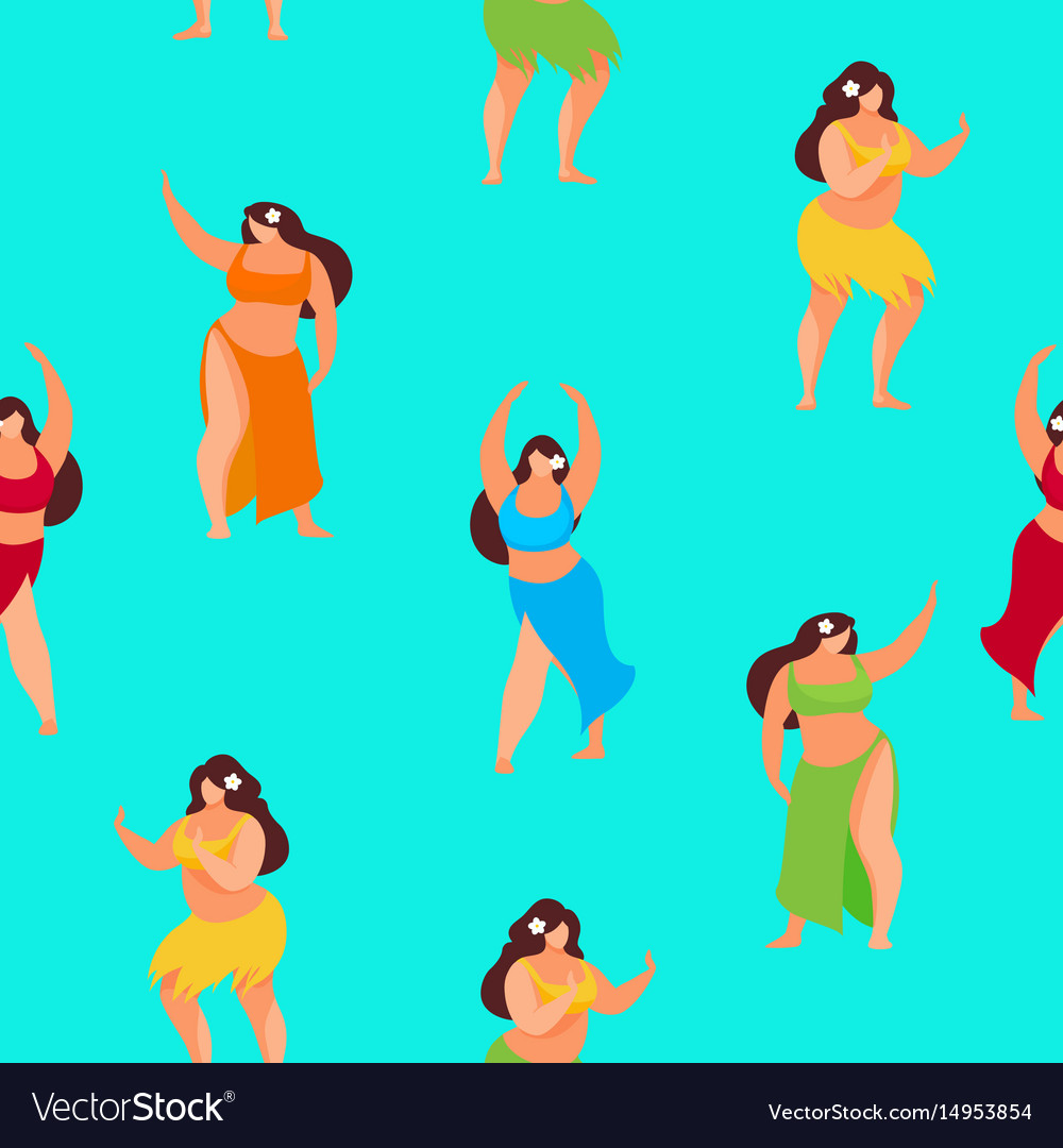 Seamless pattern of plus size hawaiian women vector image