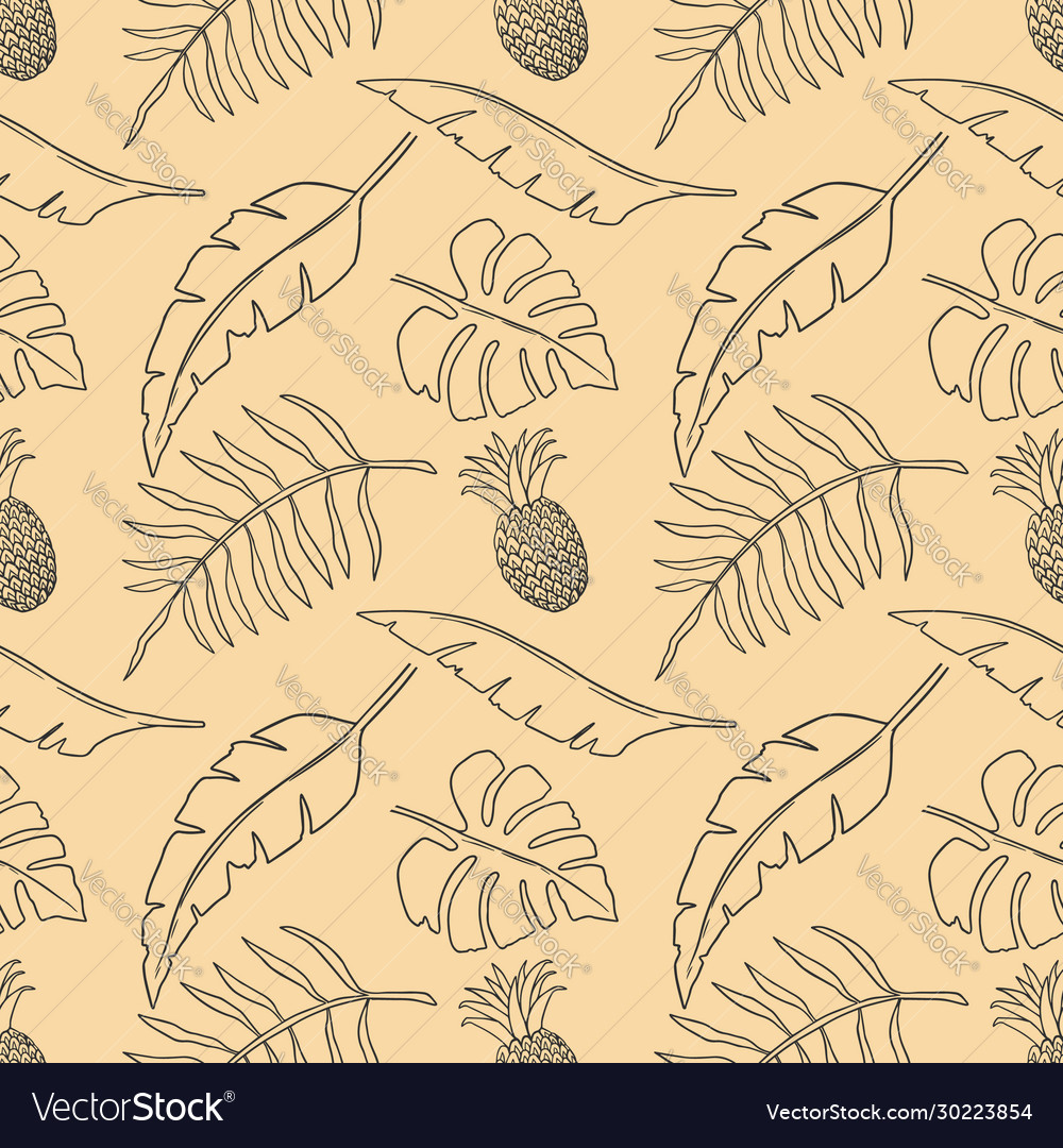 Seamless pattern with tropical leaves and fruits
