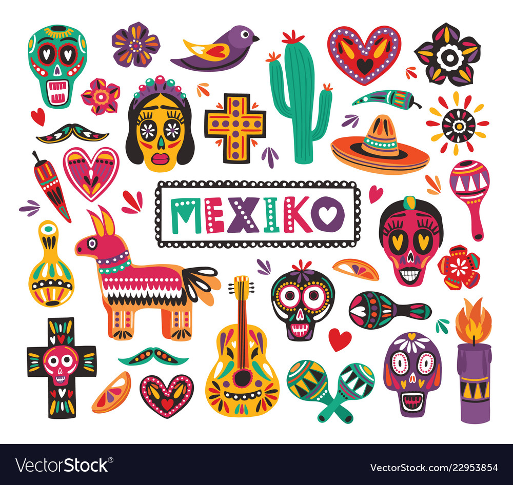 Set of national mexican symbols and traditional