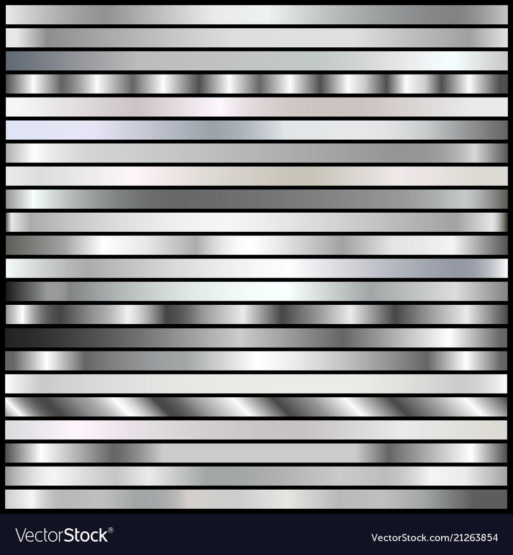 Silver gradients set vector image
