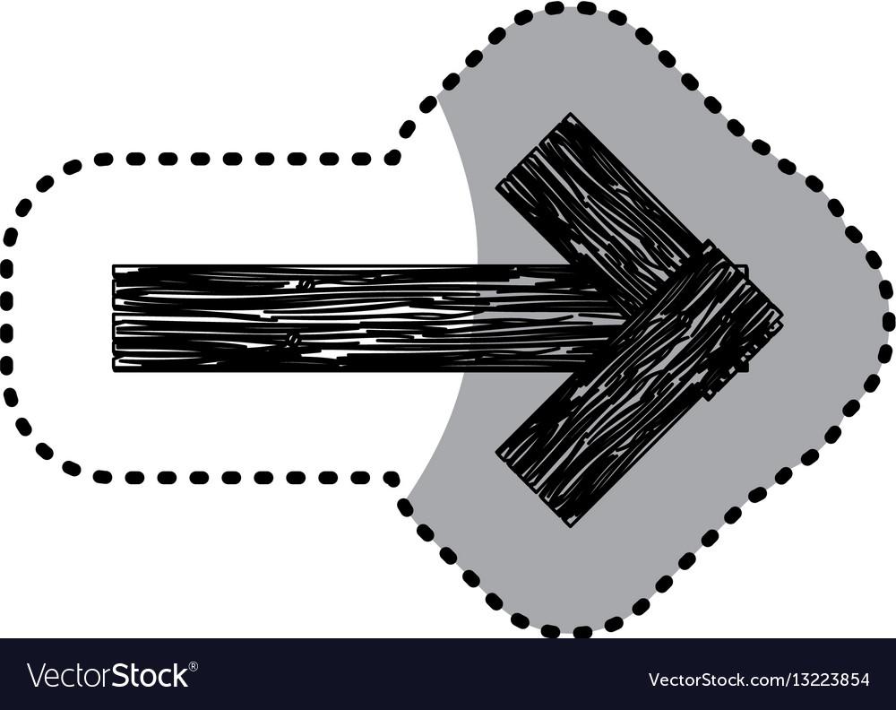 Sticker monochrome arrow piece wooden board with