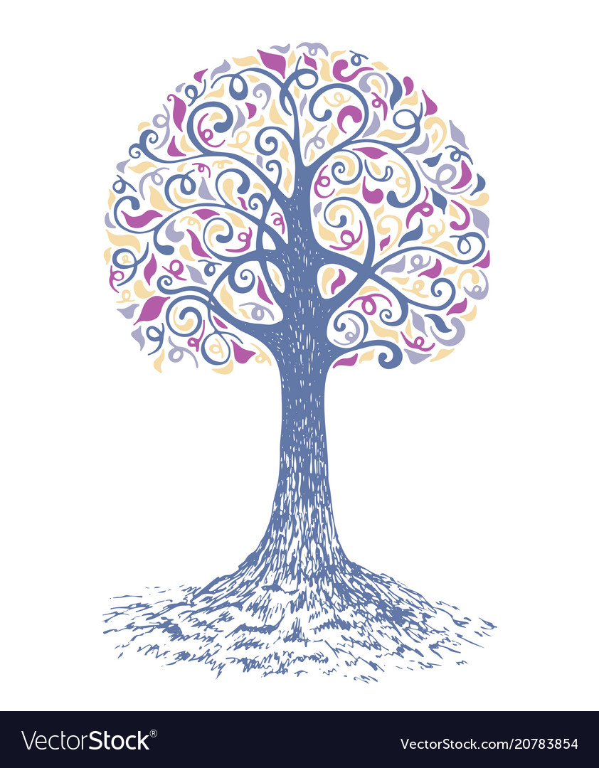 Tree sketch decoration leaves hand drawn