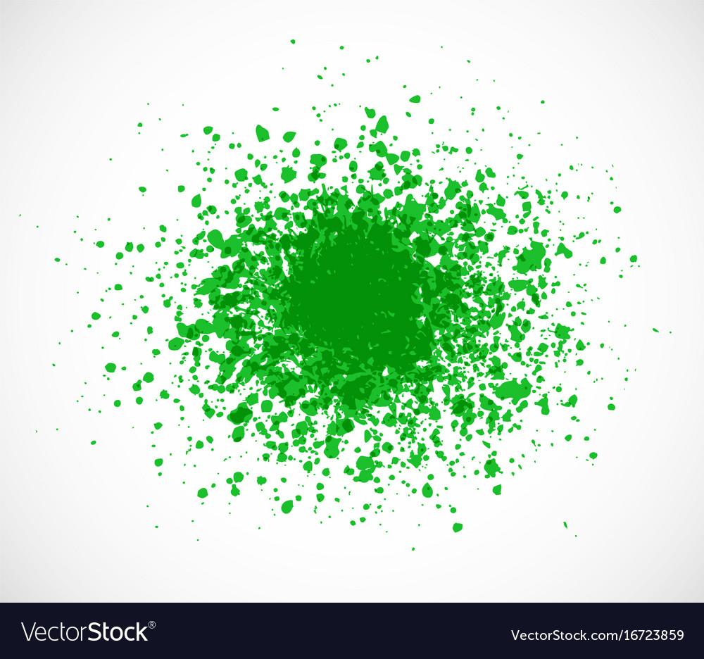 Big bright green grunge splash on white background vector image