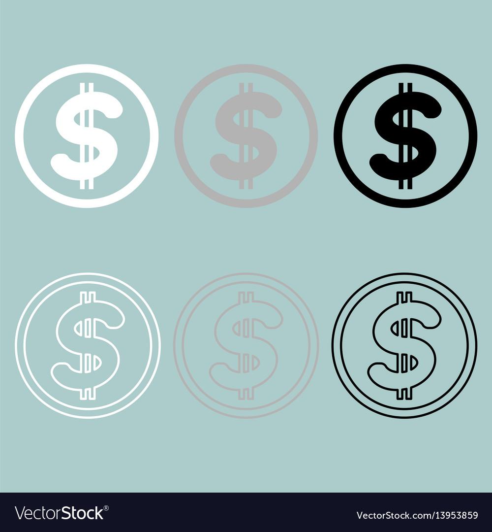 Black grey white simbol dollar icon vector image