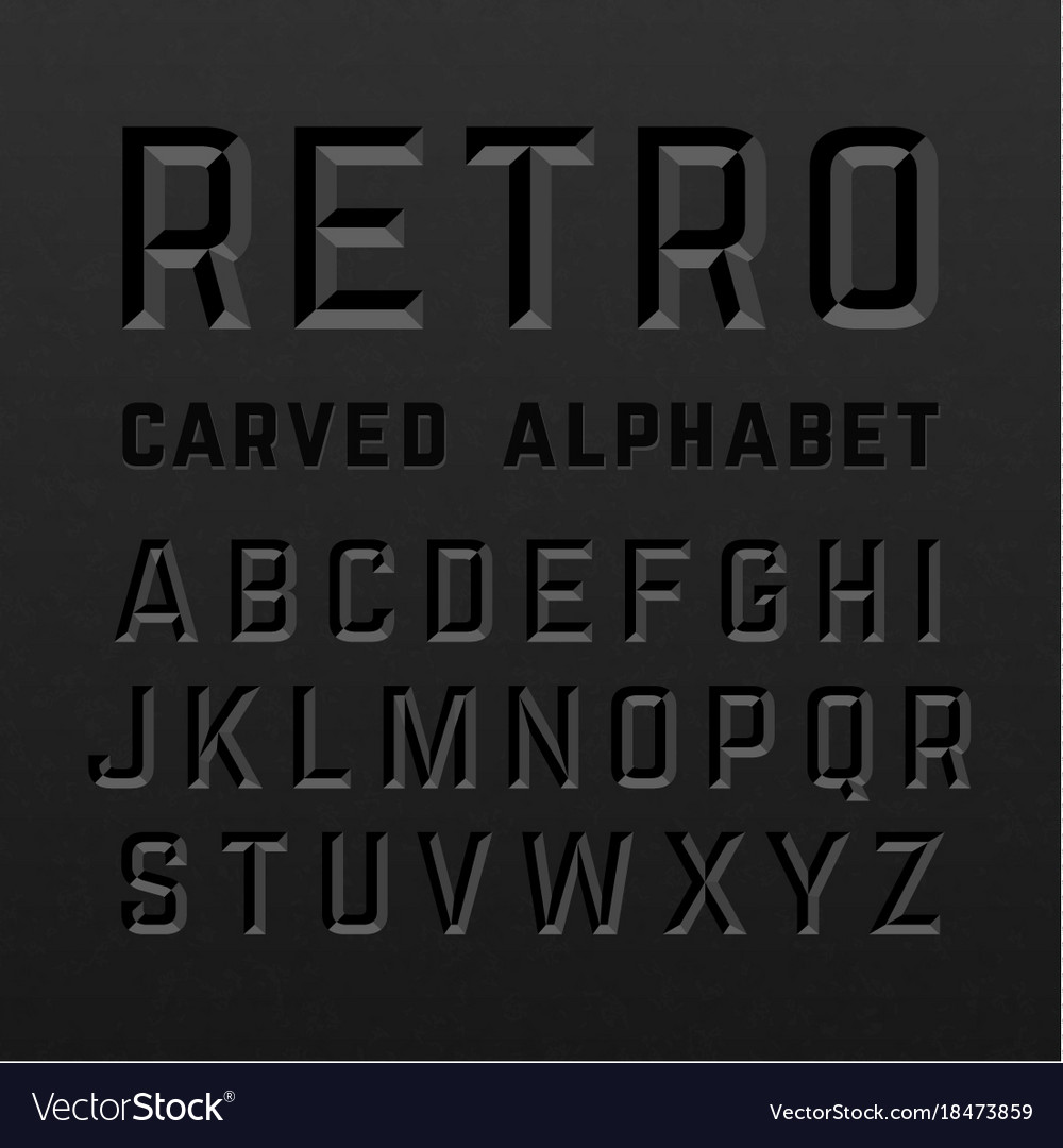 Black retro style carved alphabet