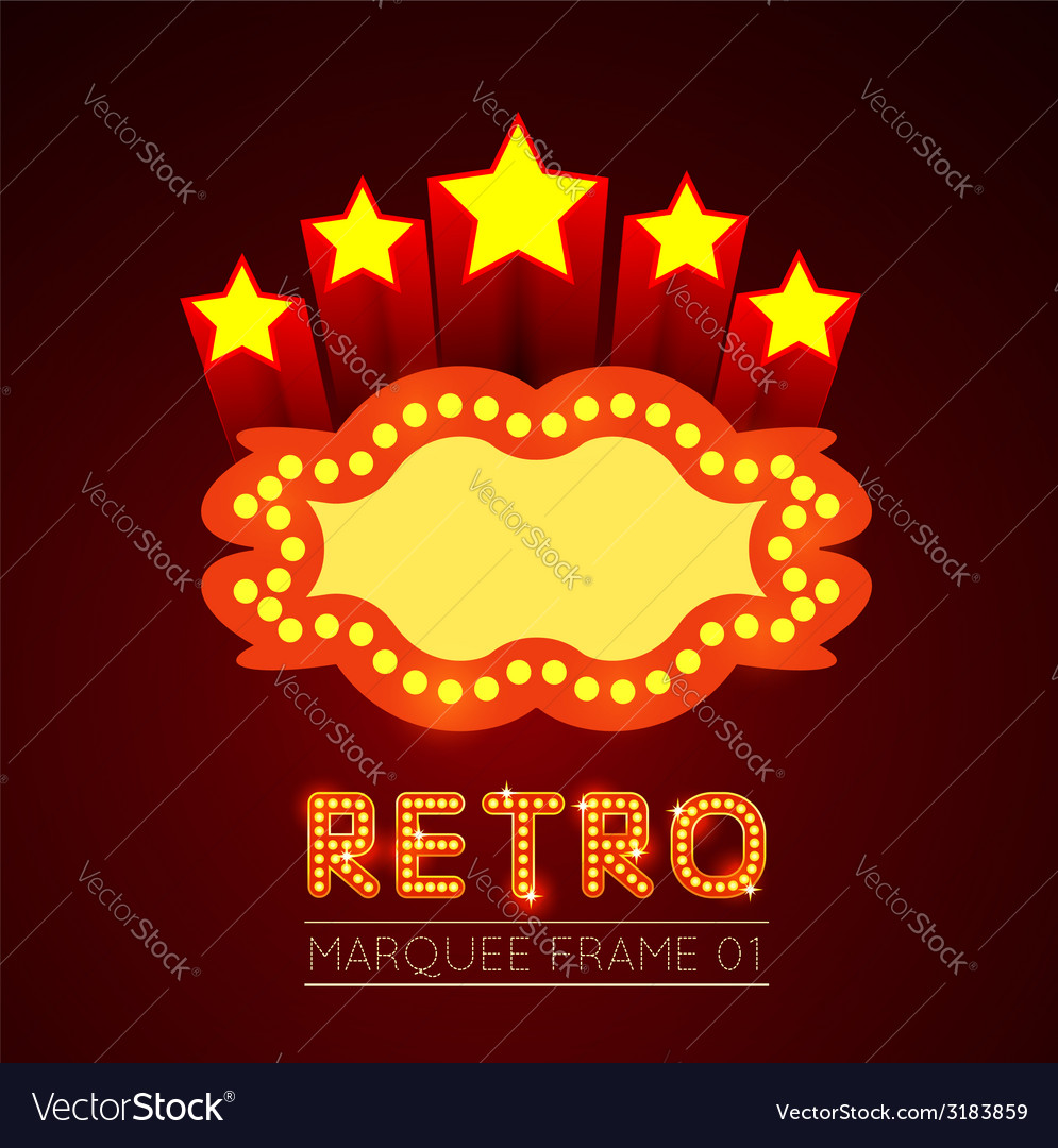Blank movie theater or casino marquee vector image