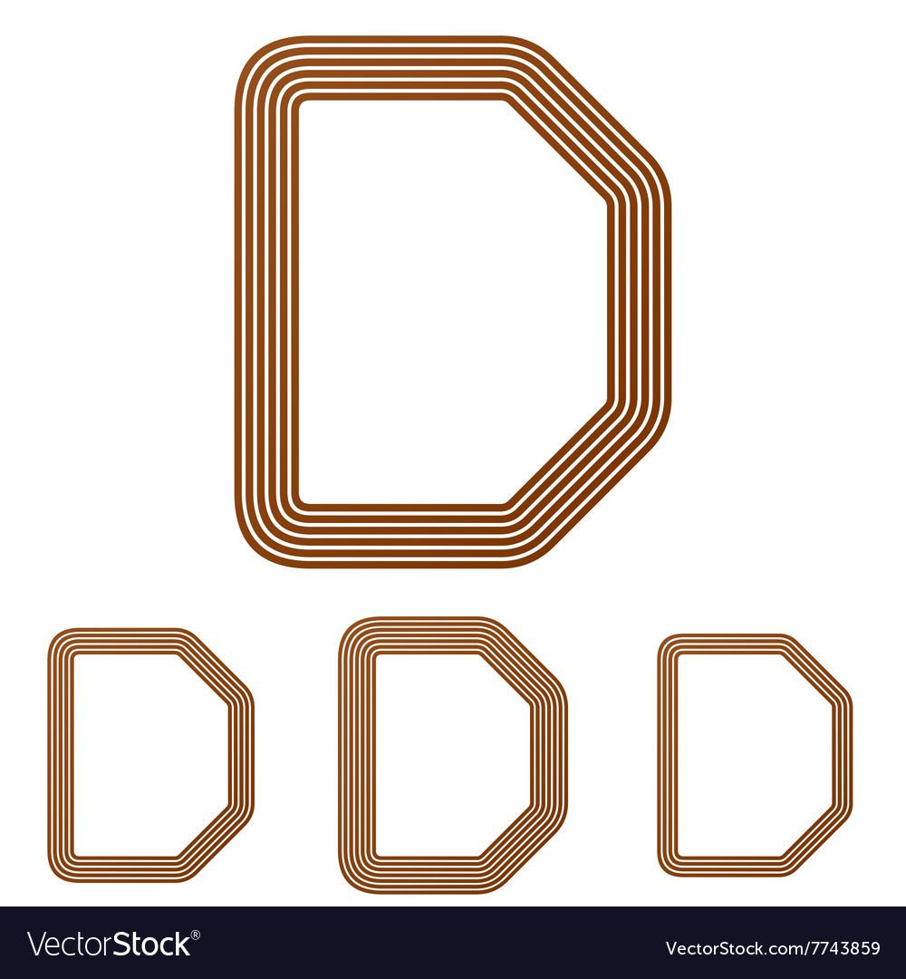 Brown letter d logo design set vector image